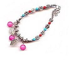Lovely Pink Glass Ball & Silvertone Bracelet