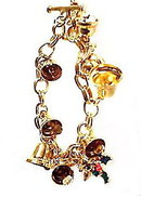 Lovely Goldtone Christmas Bell & Charm Bracelet