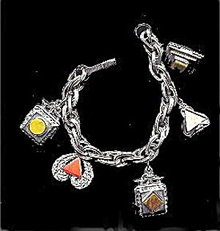 Lovely Geometric Silvertone & Glass Charm Bracelet