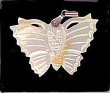 "Lovely 1 3/4"" Mother of Pearl Butterfly Pendant"