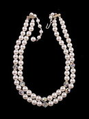 Lovely Vintage 2 Strand Faux Pearl & Crystal Necklace