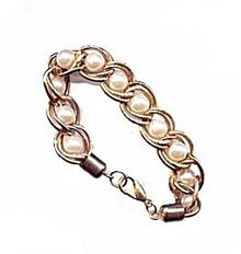 Lovely Twisted Goldtone & Faux Pearl Bracelet