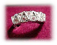 Lovely White Crystals with Silvertone Ladies Ring