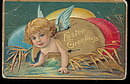 Great Easter Angel Crawling Out of Egg 1907 Postcard