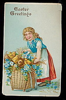 Lovely 1912 Easter Girl with Chicks Greetings Postcard