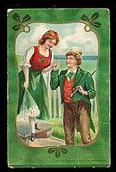 Lovely St. Patricks Day Couple 1907 Postmark