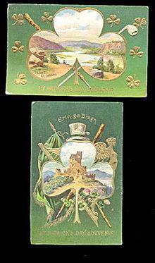 2 St. Patrick's Day Erin Go Bragh 1911 Postcards