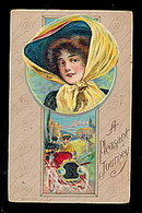 1911 'A Pleasant Journey' Girl in Hat/Auto Postcard
