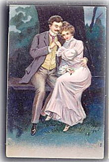 Lovely Man & Girl 1907 Romance Postcard