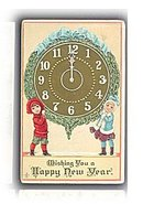 Lovely 1912 New Year's Postcard w Children & Clock