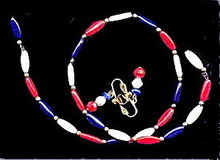 Lovely Vintage Red,White & Blue Bracelet & Earrings