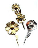 3 Vintage Flower Pins including Coro