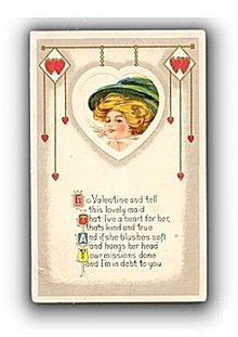 Lovely Girl with Hat Valentine's Day 1911 Postcard