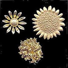 3 Vintage Goldtone Flower (Sunflower, etc) Brooches