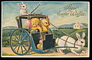 'Best Easter Wishes' Rabbit Pulling Chicks Postcard