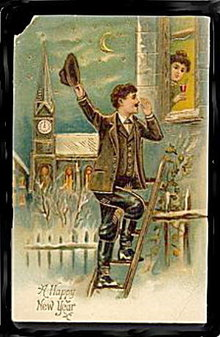 Lovely 1910 Happy New Year Man Climbing Window Postcard