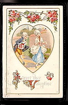 Lovely Colonial Times 1913 Valentine's Day Postcard