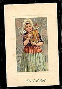 Lovely 1909 'The Fish Girl' PFB Postcard