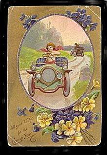 Cherub in Automobile/Car New Years 1909 Postcard