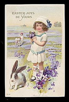 Lovely Easter Girl with Rabbit 1907 Postcard