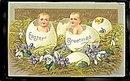 Lovely Easter Greetings Children in Eggs 1910 Postcard