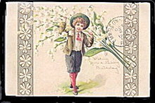 Lovely Child Carrying Lily of the Valley 1910 Postcard