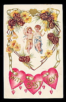 Lovely 'With Best Love' Valentine's Day 1910 Postcard