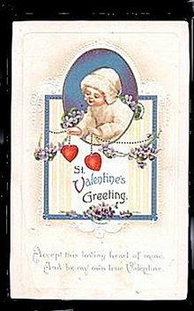 Lovely St. Valentine's Greetings Girl 1907 Postcard
