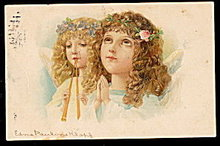1905 Easter Girls Angels Stunning Postcard