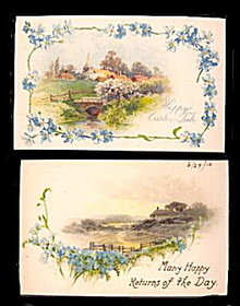 2 1910 Winsch Silk Greetings Postcards - Lovely