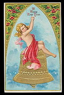 Lovely New Years Child on Bell 1908 Postcard