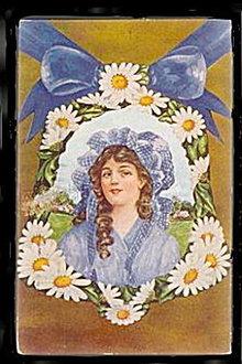 Lovely Girl in Daisy Flower/Daisies 1910 Postcard
