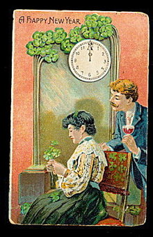 Lovely Couple 1908 New Years Postcard