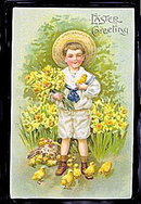 Lovely Boy in Sailors Suit Easter 1909 Postcard