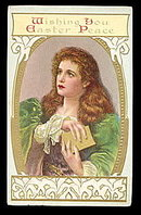 'Wishing You Easter Peace' Girl 1911 Postcard