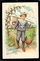 Lovely Easter Boy in Sailors Suit 1908 Postcard