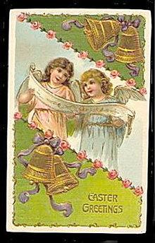 Lovely Easter Greetings Girl Angels 1909 Postcard