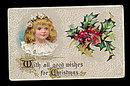 Lovely Girl with Holly 1907 Christmas Postcard