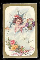 "Lovely ""Good Luck"" Girl 1916 Postcard"