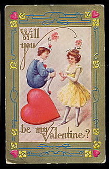 Lovely Boy Clown with Girl Valentine's Day Postcard