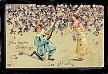 Lovely Clown Boy/Girl 1908 New Years EAS Postcard