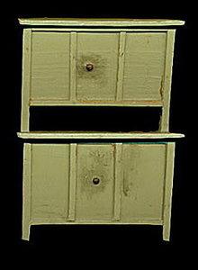 Great Vintage Dollhouse Green Hoosier Cabinet