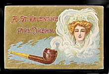 Lovely St. Valentine's Day Pipe Dream 1907 Postcard