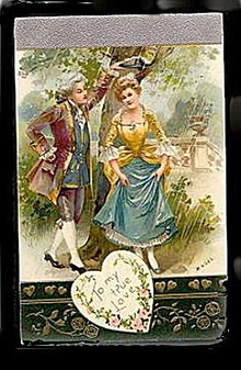 Winsch Colonial Couple 1908 Valentine's Day Postcard