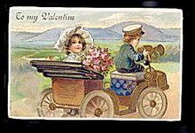 Gorgeous Children in Auto Valentine's Day 1907 Postcard