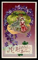 Lovely 'My Bashful Beau' Valentine's Day 1908 Postcard