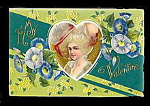 Lovely 'To My Valentine' Colonial Girl 1910 Postcard