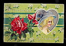 Lovely 'To My Valentine' Colonial Girl 1911 Postcard