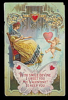 Lovely Valentine's Day Girl Butterfly & Cherub Postcard