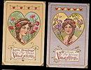 2 Lovely Girl w Braided Hair Valentine's Day Postcards